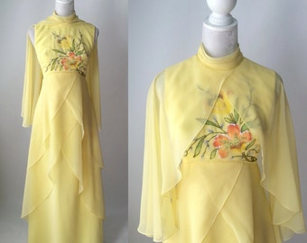 Vintage 1970s Yellow Beaded Flowing Chiffon Gown