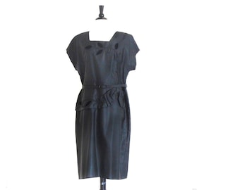Vintage Plus Dress, Black Evening Dress, 1950s Plus Size, 50s Black Dress