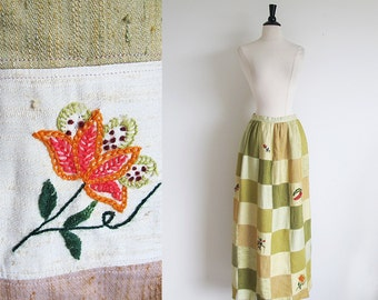 Vintage 70s Maxi Patchwork Skirt, Hand Embroidered