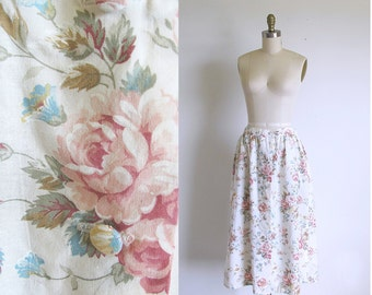 Vintage Cotton Rose Print Front Button Gathered Skirt