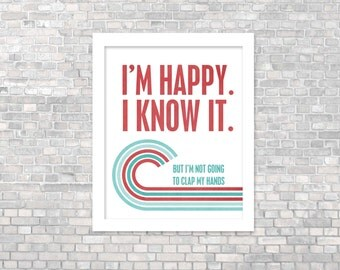 Digital Art Print Funny Typography Poster Happy and I Know It Funny Typography Retro Mod Inspired Introvert Gift Teal Red Poster