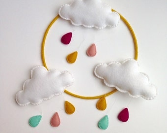 Handmade and unique cloud baby mobile, playroom, modern nursery, customize