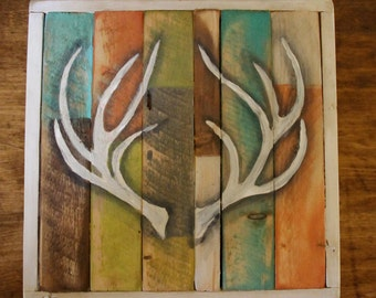 Bohemian handpainted distressed Antler Sign