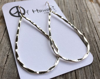 The Perfect Hammered Hoop Earrings in 14Kt Gold Fill & Sterling Silver by Peace of Hawaii Ocean Trends Co.