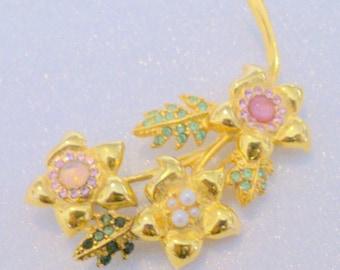 Vintage Multi Color Pastel Rhinestone Flower Brooch