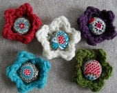 Crochet Flowers with Vintage Fabric covered Button center