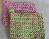 Recycled Pot-holders Lime Green & Pink Up-cycled from t-shirt yarn