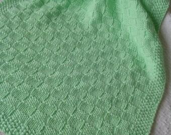 Baby Blanket*, Sprite Green Baby Blanket, Hand Knit Baby Afghan, Handmade Blanket,Basketweave Baby Blanket, Christening Baby Blanket,