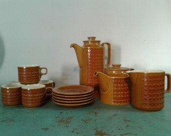 Vintage Hornsea england 1972 Saffron  tea set, coffee set, retro tea set,  creamer and five cup, coffeepot/ teapot