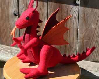 Flaming Fire Dragon Fantasy Plush ~ Stuffed Animal Toy, Handmade Eco Friendly, Red Dragon, Boy Gift, Plush Dragons, Custom Plushies, Stuffie