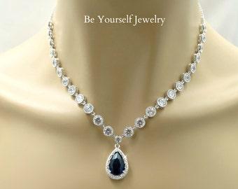 Sapphire Bridal Necklace Blue Teardrop Bride Pendant Cubic Zirconia Wedding Jewelry White Crystal Navy Bridesmaid Necklace CZ Something Blue
