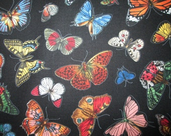 Realistic Buttefly Butterflies Black Cotton Fabric Fat Quarter or Custom Listing