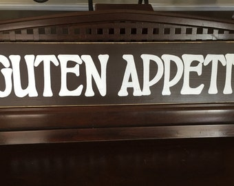 GUTEN APPETIT German Old World Kitchen Dining Room Sign Germany Plaque Food Wooden Hand Painted You Pick Color Deutschland