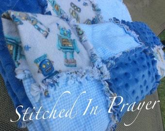 Baby Boy Rag Quilt, Blue Rag Quilt, Robots, Baby Quilt, Baby Boy Receiving Blanket, Quilt, Toddler Blanket, Blanket, Stitched In Prayer