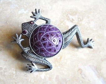Vintage Pewter Purple Rhinestone Frog Brooch