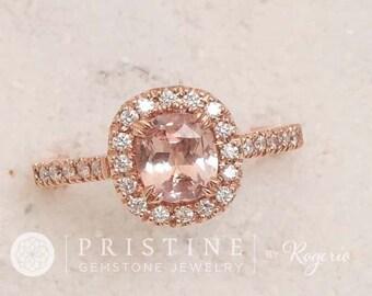 Cushion Peach Pink Champagne Sapphire Rose Gold Engagement Ring Cushion Shape Weddings Anniversary Ring