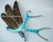 "DEER ANTLER ART Natural Shed Hand Painted 17""x14"" Lg Tribal Southwest Native American Decor Turquoise Silver Purple Buffalo Eagle Medicine"