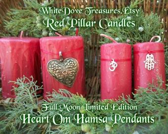 RED PILLAR CANDLE Blood Full Moon Love Spell - Chakra Reiki Yoga Candle - Om Hamsa Heart Pendant - Mandala Card Birthday Holiday Gift Box