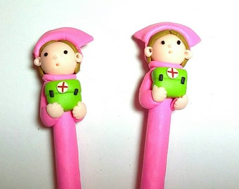 New 2 Handmade Polymer Clay Fimo Pen Cartoon Pink Nurse Free Shipping