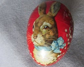 Antique German Easter Egg with Rabbits Candy Container