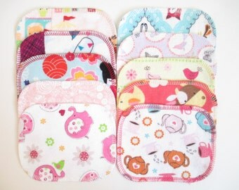 Reusable Cloth Wipes--Mini Size--Makeup Removal--Set of 10--Fun Girl Mix--Ready to Ship