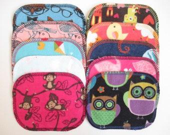Reusable Cloth Wipes--Mini Size--Makeup Removal--Set of 10--Fun Kids Animal Mix--Ready to Ship