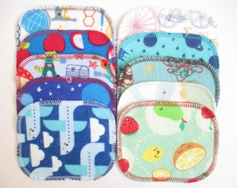 Reusable Cloth Wipes--Mini Size--Open-Ended Child's Play--Set of 10--Fun Kids Mix--Ready to Ship