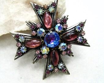 Vintage Florenza Maltese Cross Brooch Pendant AB Rhinestones Purple Blue Pink Lucite Cabochon