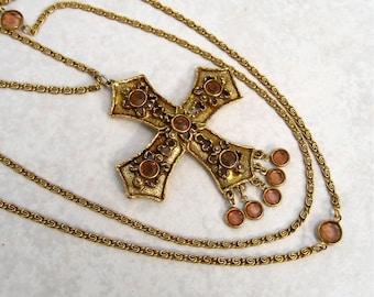 Vintage Goldette Necklace Maltese Cross Pendant Crystal Bezel Multi Chain