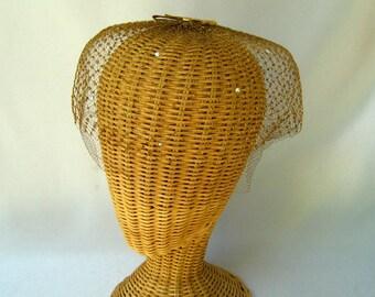 Vintage Ladies Fascinator Hat Double Gold Veil Rhinestones