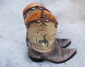 Vintage womens artisan hand crafted Old Gringo bucking bronco western boots - brown leather rugged ladies cowgirl boots - size 8 1/2