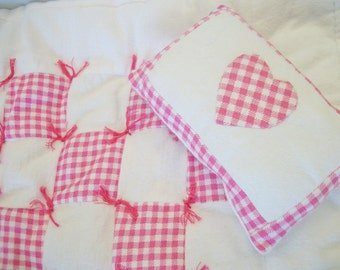 Soft flannel, doll quilt and pillow, raspberry pink and white