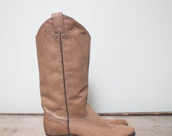 40% off Sale 6.5 M | Women's Soft Brown Leather Western Boots