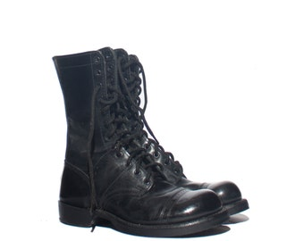 8 1/2 Wide | Women's Combat Boots Cap Toe Corcoran Paratrooper Jump Boots in Black Leather marked size 6 1/2 E