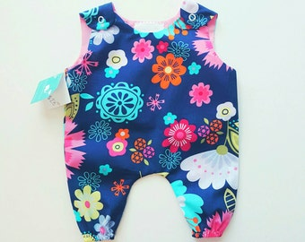 Newborn All Over Romper: Navy Blue and Pink Floral Print 0-3m