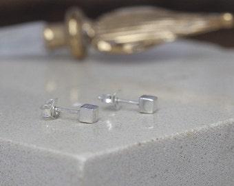 Nova Silver Cube Earrings