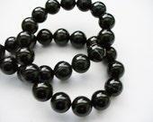 Agate Beads Gemstone Black Round 10MM