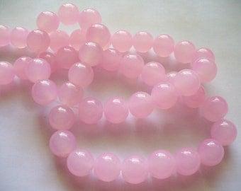 Jade Glass  Beads Pink Round 10MM