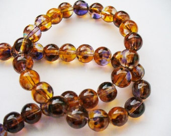 Transparent Painted Beads with Spots of Orange, Blue and Brown Round 8MM