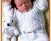 PDF Knitting Pattern - Baby/Toddlers Wrapover Cardigan, 2 Sweaters & 2 Toy Teddy Bears - Instant Download