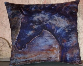 Blue Horse accent pillow