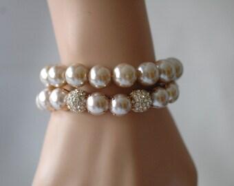 SALE - Pearl Bracelet, Stretch Bracelet, Set of 2 light pink bracelet with pave ball, Gift for her, Birthday Gift, Everyday use bracelet