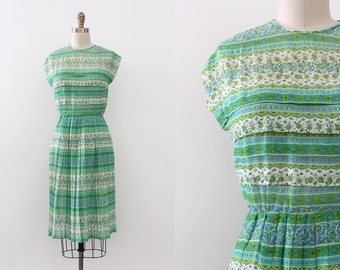 vintage 1950s dress // 50s 60s sheer green day dress