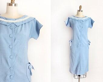 vintage 1950s dress // 50s powder blue shift dress