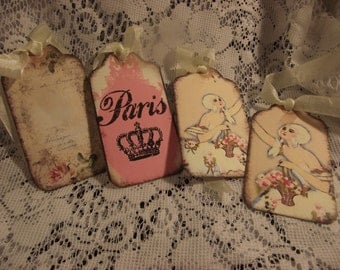 Shabby Chic Gift Tag  Adorned With Seam Binding Ribbon Can be used for Gift Giving Tie on Packages  Party Favor