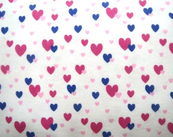 Flannel Fabric in a Fun Tiny Floating Heart Print 1 Yard