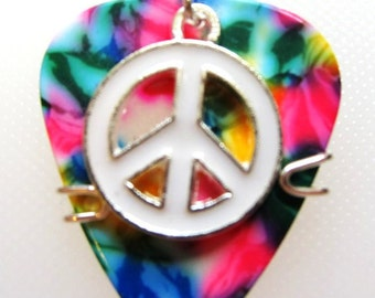 Guitar Pick Jewelry - Tye Dyed pick  with white peace sign