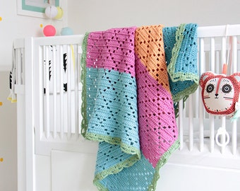 "Filet crochet baby blanket ""Sicily"" --> 20% SALE <--"