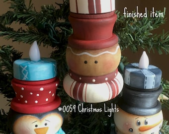 EPATTERN, 0059 Christmas lights, paint your own, digital download, painting pattern, snowman pattern, christmas ornaments, prim pattern
