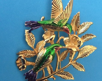 JJ Jonette Enamel and Gold Plated Hummingbird Brooch
